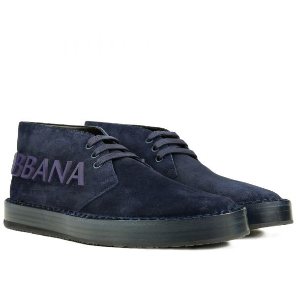 Dolce & Gabbana Suede Rubber Logo Ankle Boot