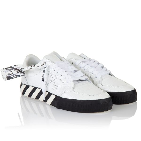 Off White Vulcanized Croco Leather Sneakers