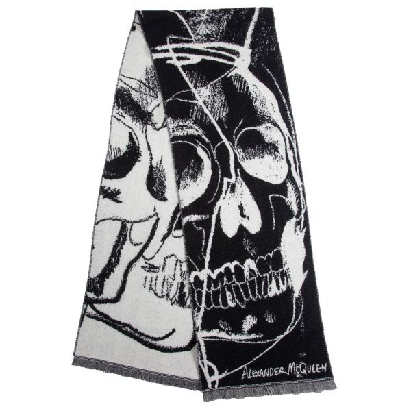 Alexander McQueen Chained Skull Wool Scarf